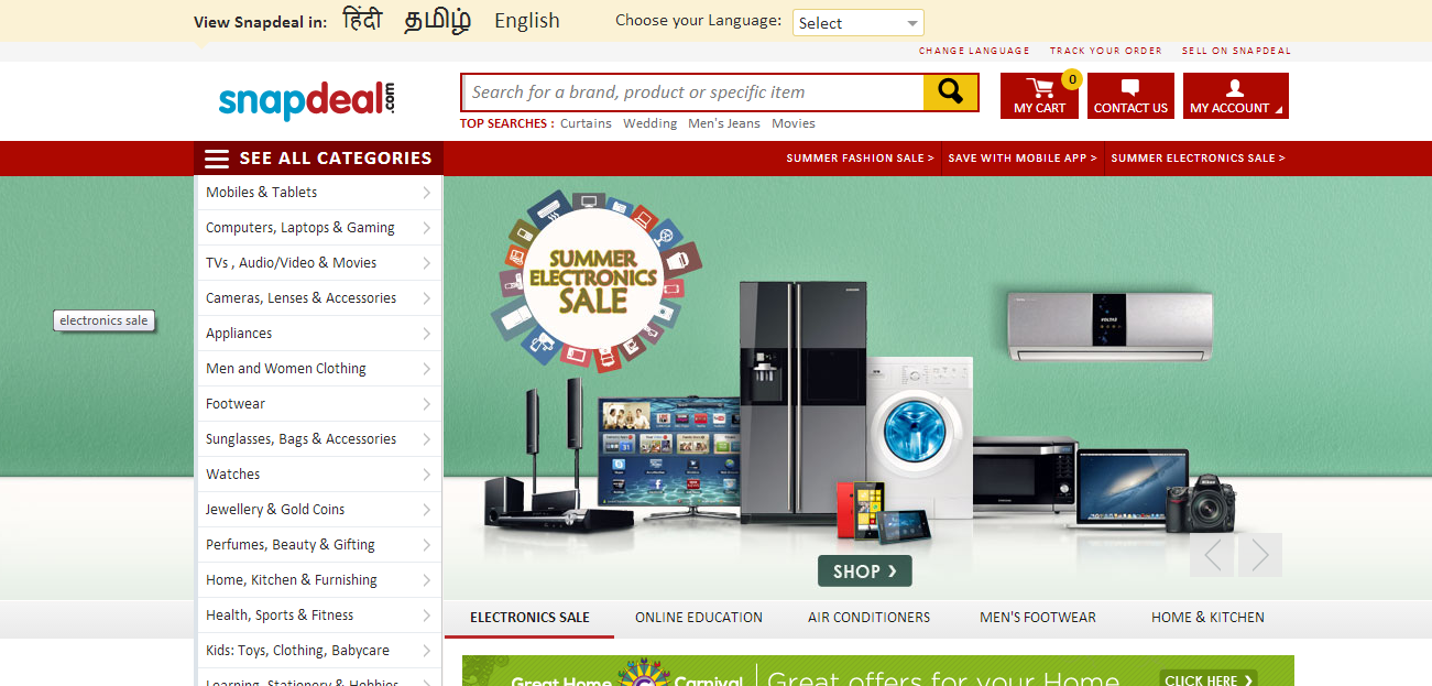 A screenshot from Snapdeal.com