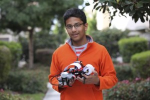 Shubham Banerjee, founder of Braigo Labs Inc., holds a printer in Palo Alto