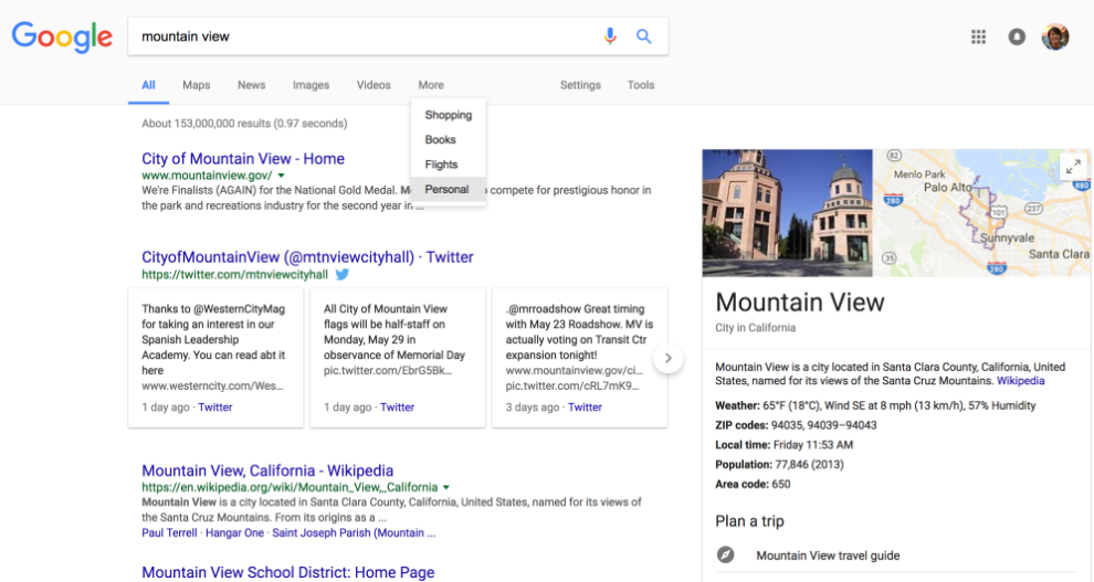 Personal tab added to Google Search for individualized results from Google services
