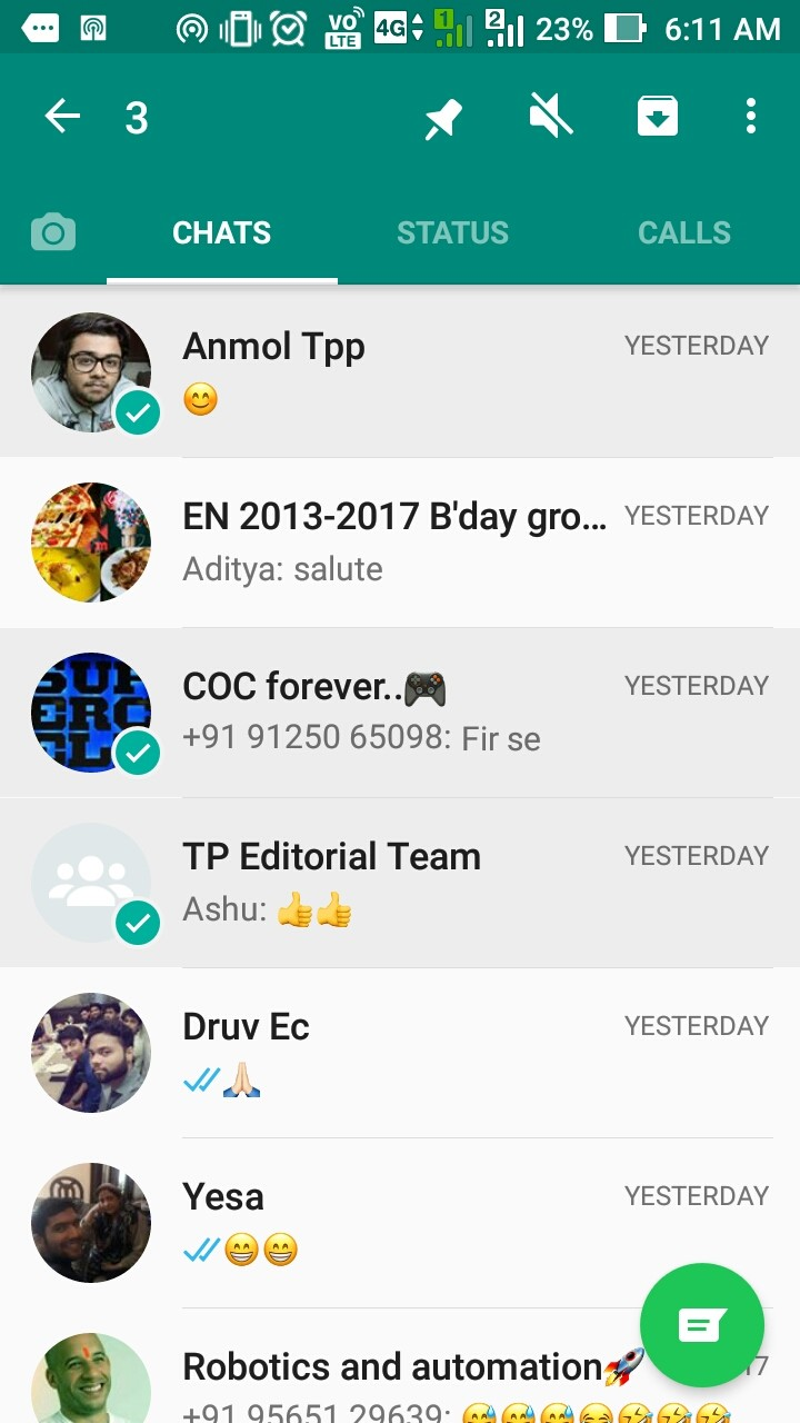 WhatsApp introduces 'Pinned Chats' to Android   The Tech Portal